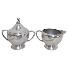 Wm A. Rogers Silverplate Cream and Lidded Sugar
