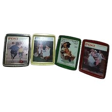 Set of 4 Small Norman Rockwell Metal Trays with Post Covers Made in England