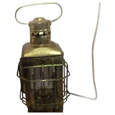 Brass Square Hurricane Lantern from India