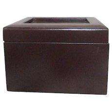 Leather Covered Storage Box with Glass Photo Space from Restoration Hardware