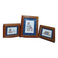 Three Oak Wood Framed Prints Teddy Bears by Sherri McNeil 1995