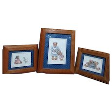 Three Oak Wood Framed Prints Teddy Bears by Sherri McNeil 1995