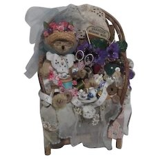Teddy Bear Seamstress in Wooden Chair with Sewing Notions