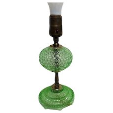 Florescent Green Glass Hobnail Lamp