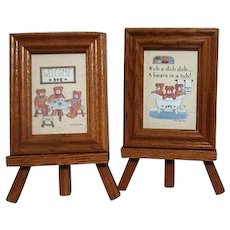 Pair of Miniature Framed Bear Prints on Easel Stands