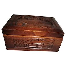 Hand Carved Wooden Cigarette Box with Water Buffalo Scene Folding Holder