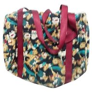 Weekender Cloth Tote Bag with Teddy Bears, Clown, Toys Design Medium Size
