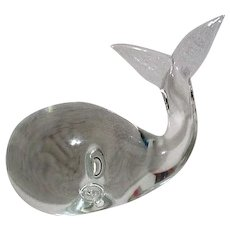 Clear Glass Whale Paperweight