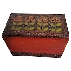 Carved Lid Wooden Box for Playing Cards with Two Decks