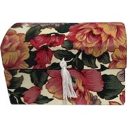 Floral Fabric Covered Miniature Trunk Shaped Box