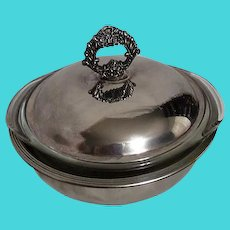 Silver Plated Covered Casserole with Pyrex Insert