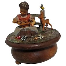 Music Box with Young Girl and Animals Pastoral Scene Swiss Movement
