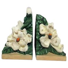 Pair of Bookends with Magnolia Flowers