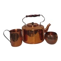 Copper Set of Teapot, Creamer and Sugar Different Mfgs