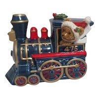 Christmas Train Engine Music Box with Teddy Bear Engineer
