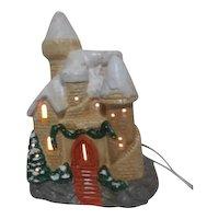 Ceramic Castle Electric Light Christmas Decoration