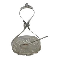 Three Piece Savory Server Silver Plated and Glass with Spoon