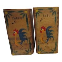 Wooden Salt and Pepper Shakers with Whistling Rooster c1950
