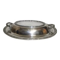 Silver Plated Covered Oval Serving Dish by Wm Rogers Sons Victorian Rose Pattern