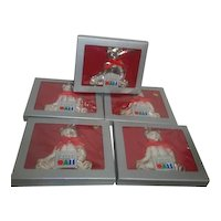 Set of 5 Large Silverplated Teddy Bear Christmas Ornaments