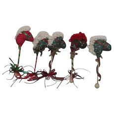 Set of 5 Quilted Head Hobby Horse Christmas Ornaments