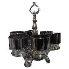 Set of 6 Silver Finish Whiskey Glasses with Ornate Carrier