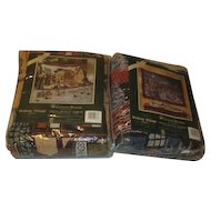 Pair of Dept 56 The Dickens Series #1 & #2 Triple Woven Christmas Throws