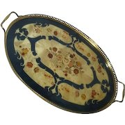 Italian Tray with Inlaid Wood Floral Design