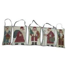 Set of 5 Cross-stitched Pillow Santa Christmas Ornaments