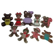 Set of 9 Handcrafted Plastic Canvas Stitched Bears Christmas Ornaments