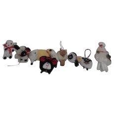 Set of 9 Lambs and 1 Llama Soft Sculpture Hanging Christmas tree Ornaments