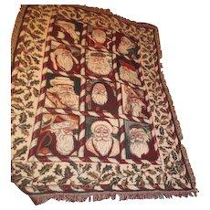 Christmas Throw Tapestry 12 European Santa Faces