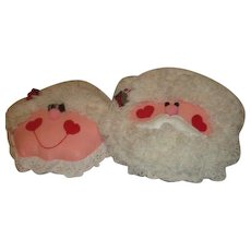 Santa and Mrs. Claus Hanging Pillow Faces