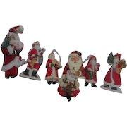 7 Ceramic Hanging Santa Christmas Tree Ornaments