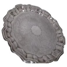Silverplate Round Footed Serving Tray by Leonard Silverplate