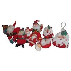 Set of 9 Hanging Santa Claus Christmas Tree Ornaments