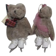 Pair of Ice Skating Bears Hanging Ornaments