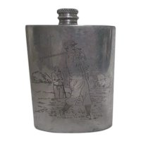 Sheffield Mint Hip Flask Etched Golfer on Pewter from England