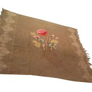 J & FH Antique Buggy Lap Robe Embroidered with Fringe