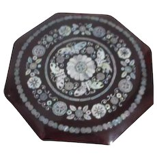 Korean Lacquer Tidbit Box with Mother of Pearl Inlay