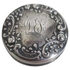 Small Vanity Jar Sterling Lid on Crystal Monogrammed