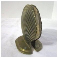 Vintage Brass Sea Shell Book Ends