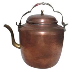 Hammered Copper Kettle Made in Turkey  Brass Handle