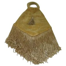 Gold Shaded Velveteen Fabric Purse with Fringe from Back Street