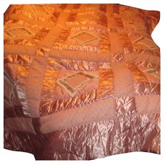 Pink Satin Quilted Bedspread with Matching Pillow Shams