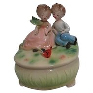 Josef Original Music Box Porcelain Young Boy and Girl