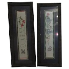 Pair of Framed Needlepoint Bookmarks