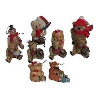 Set of 10 Teddy Bear Christmas Ornaments