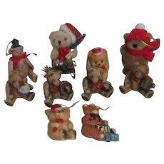 Set of 10 Teddy Bear Christmas Ornaments