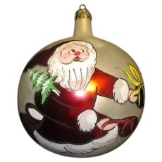 Hand Painted Santa on Round Christmas Ornament